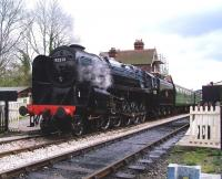 Preserved BR 9F 2-10-0 no 92212 stands at Sheffield Park on 12 April with a train on the Bluebell Railway. <br><br>[Colin Alexander&nbsp;12/04/2012]
