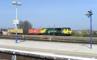 Freightliner 70008 with eastbound containers off the Oxford line through Didcot on 12 April 2012 heading for Southampton.<br><br>[Peter Todd 12/03/2012]
