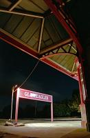 In late 1994 Gleneagles station was illuminated by temporary lash-up lights (and stars). This view is from the former Crieff platform showing the canopy at the north end.<br><br>[Ewan Crawford&nbsp;//1994]