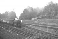 An unidentified class K1 2-6-0 with an up train of mineral wagons passing Low Fell, Gateshead, on 13 October 1962.<br><br>[K A Gray&nbsp;13/10/1962]