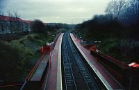 Lambhill station looking east in early 1994 when still relatively new (opened December 1993). The station was renamed Gilshochill in 1998. [See image 18305]<br><br>[Ewan Crawford&nbsp;//1994]