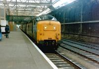 Deltic no 55016 <I>Gordon Highlander</I> following arrival with a train at Waverley in June 1981.<br><br>[Colin Alexander&nbsp;/06/1981]