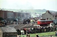 'Steam 150' Ready to go, with <I>Locomotion</I> at the head of the cavalcade. Will we ever see so much steam in one place again?? <br><br>[John Thorn&nbsp;/09/1975]