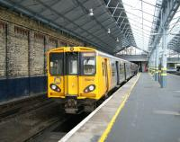 A Merseyrail electric prepares to leave Southport for Liverpool on 19 April 2012.<br><br>[Veronica Clibbery&nbsp;19/04/2012]
