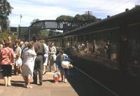 A healthy complement of passengers leaving a DMU from Edinburgh at Aberdour on Sunday 1st July 1961.<br><br>[Frank Spaven Collection (Courtesy David Spaven) 01/07/1961]