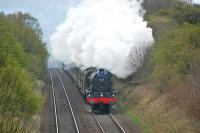 Royal Scot no 46115 <I>Scots Guardsman</I> breasts the summit between Turnhouse and Dalmeny Junction on 22 April 2012 with the 'Great Britain V' from Edinburgh to Thornton Junction.<br><br>[Bill Roberton&nbsp;22/04/2012]