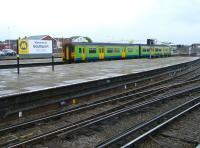 A DMU off the Wigan line runs into Southport on an overcast 19 April 2012. <br><br>[Veronica Clibbery&nbsp;19/04/2012]