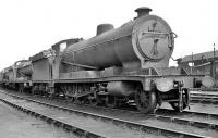 O4 2-8-0 no 63843 on Mexborough shed looking south east towards the coaling stage in the late 1950s.<br><br>[K A Gray&nbsp;//]