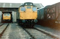 A Class 27 stands in the shed yard at Aberdeen, Ferryhill, in October 1981.<br><br>[Colin Alexander&nbsp;24/10/1981]