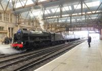 It was nice to see a steam engine standing in Perth station again.  46115 <I>Scots Guardsman</I> at the head of the southbound 'Great Britain V' on 24 April 2012. [See image 6823 for a similar scene nearly half a century earlier.]<br><br>[John Robin&nbsp;24/04/2012]