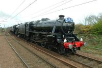 The late running 'Great Britain V' special approaching Troon on 25 April 2012 behind 45305+45407.<br><br>[John Steven&nbsp;25/04/2012]