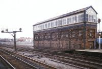 The large Rhyl No2 signal box, alongside the Up Slow line at the Holyhead end of Rhyl station, photographed in July 1986.<br><br>[Ian Dinmore&nbsp;12/07/1986]