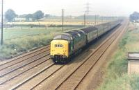 Deltic D9017 <i>The Durham Light Infantry</i> at speed on the ECML 'race track' near Sessay, North Yorkshire, in 1972 with train 1E05 the up <I>'Flying Scotsman'</I>.<br><br>[Colin Alexander&nbsp;//1972]