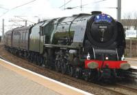 46233 <I>Duchess of Sutherland</I> with the 'Great Britain V' railtour at Newton-on-Ayr on 26 April 2012. The train is just about to take the Mauchline line.<br><br>[Colin Miller&nbsp;26/04/2012]