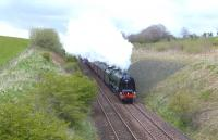 Stanier Pacific no 46233 <I>Duchess of Sutherland</I> approaching Polquhap summit, near Cumnock, on 26 April 2012 with the 'Great Britain V' railtour.<br><br>[John Robin&nbsp;26/04/2012]