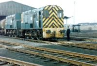 One of the Tinsley Yard super-shunters, no 13001, photographed on shed at 41A in February 1981. [See image 18091]<br><br>[Colin Alexander&nbsp;/02/1981]