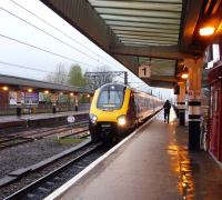 A Bristol bound CrossCountry service arriving at a wet Wakefield Westgate on 18 April 2012.<br><br>[John Steven&nbsp;18/04/2012]