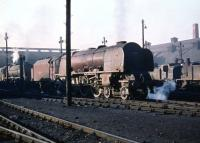 Stanier 'Coronation' Pacific no 46243 <I>City of Lancaster</I> of Crewe North shed being prepared to work back south at Polmadie depot on 26 September 1959.<br><br>[A Snapper (Courtesy Bruce McCartney)&nbsp;26/09/1959]