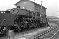 The diesel locomotive standing in the background on Schwandorf's roundhouse turntable in August 1974 is an indication that Class 50 No. 050 737 and its classmates had only a limited time left.<br><br>[Bill Jamieson&nbsp;25/08/1974]