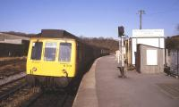 A DMU stands at the terminus at Milford Haven in February 1986. For some unknown reason the train is displaying 'Neyland' on the destination blind - a Pembrokeshire station that closed along with its branch line in 1964. [See image 38678 for the view twenty six years later]<br><br>[Ian Dinmore&nbsp;//1986]