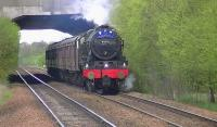 Royal Scot no 46115 <I>Scots Guardsman</I> passes Carmyle at 19.04 on 24 April with the Inverness to Glasgow Central leg of the 'Great Britain V' railtour. <br><br>[Ken Browne&nbsp;24/04/2012]