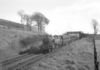 BR Standard class 4 2-6-4T no 80000 on Tarbet Hill, West Kilbride, in May 1963 with an Ardeer workers train.<br><br>[R Sillitto/A Renfrew Collection (Courtesy Bruce McCartney)&nbsp;09/05/1963]