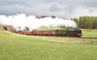 Rebuilt 'Royal Scot' no 46115 <I>Scots Guardsman</I> pictured south of Gleneagles on 24 April with the 'Great Britain V'.<br><br>[John Gray&nbsp;24/04/2012]