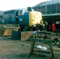 55003 RIP. <i>'Meld'</i> in the cutting up sidings at Doncaster Works in February 1981.<br><br>[Colin Alexander&nbsp;/02/1981]