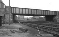Looking north under Castle Terrace road bridge, Aberdeen, on 26 May 1973, with the remains of Waterloo station behind the photographer. The DMU approaching the former terminus is the SLS/SRA 'Buchan and Mearns Railtour' originating from Glasgow Queen Street. [See image 30366]<br><br>[John McIntyre&nbsp;26/05/1973]