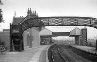 Dunbar Station in August 1976, prior to the removal of the down platform and footbridge.<br><br>[Bill Roberton&nbsp;/08/1976]