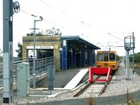 Metro terminus at South Hylton in July 2004. A train for St James is standing at the buffer stops.<br><br>[John Furnevel&nbsp;04/07/2004]