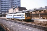A train for Leeds awaits its departure time from Harrogate on 15 May 1990.<br><br>[Ian Dinmore&nbsp;15/05/1990]