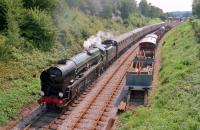 Merchant Navy Class 35027 <I>Port Line</I> leaves Horsted Keynes on the Bluebell Railway and heads for Kingscote in 1992.<br><br>[Ewan Crawford&nbsp;//1992]