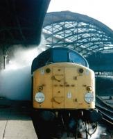 40025 salutes the end of Steam? Newcastle Central station, September 1979. <br><br>[Colin Alexander&nbsp;/09/1979]