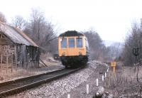 A DMU approaching Kings Nympton on the Barnstaple line in April 1986.<br><br>[Ian Dinmore&nbsp;/04/1986]