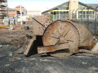 Scene on 16 May 2012 at the site once occupied by Dunfermline Shed, 62C, which is currently undergoing redevelopment. The builders have unearthed a large metal object, which may have been part of the coaling plant... or is it?<br><br>[Grant Robertson&nbsp;16/05/2012]