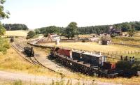 General view over Beamish in the early 1980s, with the replica <I>'Locomotion No 1'</I> standing centre left.<br><br>[Bruce McCartney&nbsp;//]