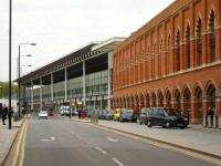 View along Midland Road on the west side of St Pancras in May 2012 showing the new modernist extension to the original Barlow trainshed. <br><br>[David Pesterfield&nbsp;17/05/2012]