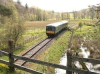 The 14.00 Dufftown - Keith DMU approaching Drummuir on Sunday 20 May 2012.<br><br>[John Furnevel&nbsp;20/05/2012]