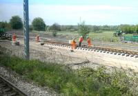 Tram tracks being laid alongside Carrick Knowe Golf Course on 21 May 2012, seen from a Fife- bound train.<br><br>[Bill Roberton&nbsp;21/05/2012]