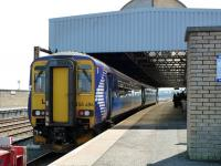 The 12.36 service to Glasgow Central waits to leave Stranraer Harbour on 24 May 2012.<br><br>[Colin Miller&nbsp;24/05/2012]