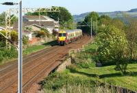 334007 departs with an eastbound service from Cardross on 26 May 2012.<br><br>[John McIntyre&nbsp;26/05/2012]