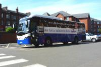 Cairnryan's Express...  the ScotRail/Stena connecting bus waits at Ayr station on 1 June 2012 to transfer passengers off the 15.00 from Glasgow Central to the new ferry terminal. <br><br>[Colin Miller&nbsp;01/06/2012]