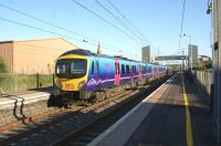 A First TransPennine Express service to Manchester Airport, comprising two Class 185 units, calls at Lockerbie station on the evening of 27 May 2012.<br><br>[John McIntyre&nbsp;27/05/2012]