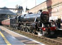 Ex LMS Black 5 no 45305 pauses at Preston with the <I>Cumbrian Mountain Express</I> to Carlisle on 27 August 2011.<br><br>[John McIntyre&nbsp;27/08/2011]