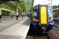 The 11.50 to Glasgow Central awaits its departure time at Wemyss Bay on 1 June 2012.<br><br>[Colin Miller&nbsp;01/06/2012]