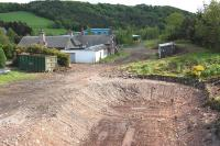 Looking south over Stow station site on 4 June 2012 with the obstructing house now demolished [see image 14414].<br> <br><br>[Bill Roberton&nbsp;04/06/2012]