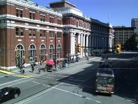 A trolley bus alongside Waterfront station, Vancouver's main transit terminus, seen here on 11 May 2012. [See image 38992]  <br><br>[Malcolm Chattwood&nbsp;11/05/2012]