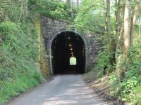 A narrow gauge tunnel with standard gauge dimensions. The L&MVR was quite advanced in its thinking as it conveyed standard gauge wagons on narrow gauge transporters so the tunnel at Butterton had to be large enough to accommodate them. Although most of the branch trackbed is now a footpath and cycleway a short stretch from Wetton to Butterton also carries light road traffic. This section includes the tunnel, viewed here from the southern end. Butterton Halt was just on the north side at which point the road veers away again leaving the <I>Manifold Valley Trail</I> to be followed to Hulme End.<br><br>[Mark Bartlett&nbsp;24/05/2012]