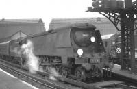 Bulleid West Country Pacific no 34102 <I>'Lapford'</I> waits to leave Waterloo with a Bournemouth line train, thought to have been photographed in 1965. This was the last of the unrebuilt Bulleid Pacifics remaining in BR service when it was eventually withdrawn from Eastleigh shed in July 1967. <br><br>[K A Gray&nbsp;//]